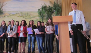 David  Masterson, English Language Fellow in Sevastopol, Ukraine performing with his students