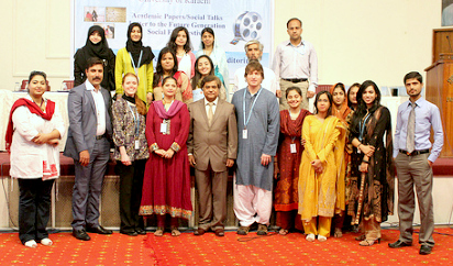 """""""Citizen diplomats"""" Heather Layton and Brian Bailey at the University of Karachi for the """"Social Intervention Conference 2012: A Better Tomorrow for the Coming Generation"""". The conference was organized by two IVLP alumni."""