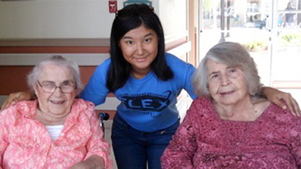 Dana with residents at the local senior rehabilitation center