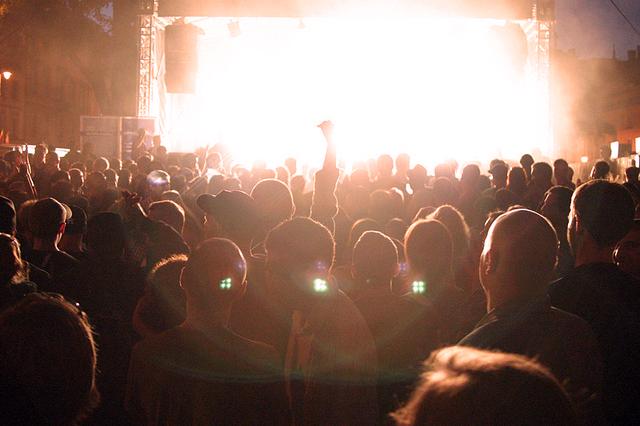 Ozomatli's outdoor performance in Warsaw, Poland drew large crowds.