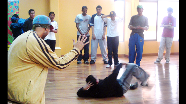 Participants try out their moves in a break-dance workshop held in Bolivia.