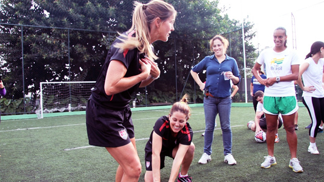Throughout the program, Julie Foudy and Brandi Chastain emphasized and exhibited the importance of teamwork and communication on and off the field.