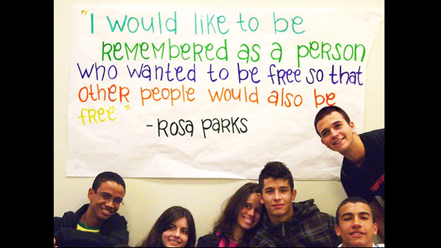 Youth Ambassadors at Roosevelt High School celebrate Martin Luther King, Jr. Day.