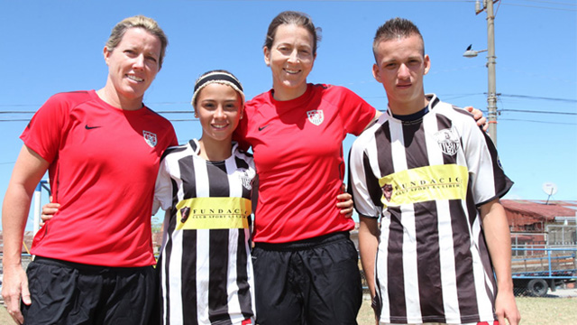 Amanda and Tracy join the captains of the teenage girls and boys soccer teams.