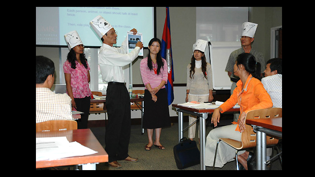 "Participants in a two-day ""Teaching English to Young Learners"" workshop given by English Language Specialists at the U.S. Embassy in Phnom Penh, Cambodia."