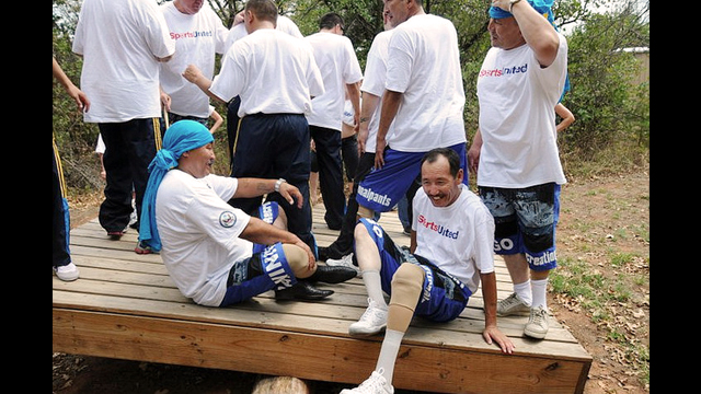 The group from Kazakhstan participates in team building activities at the University of Central Oklahoma.