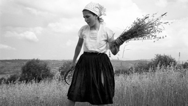 Photo of a woman standing in a field with hay in her hands.