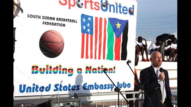 U.S. Embassy Juba Deputy Chief of Mission Chris Datta speaks at the opening ceremony.