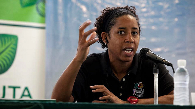 WNBA star Nykesha Sales speaks at the welcome panel discussion on the positive power of sports.
