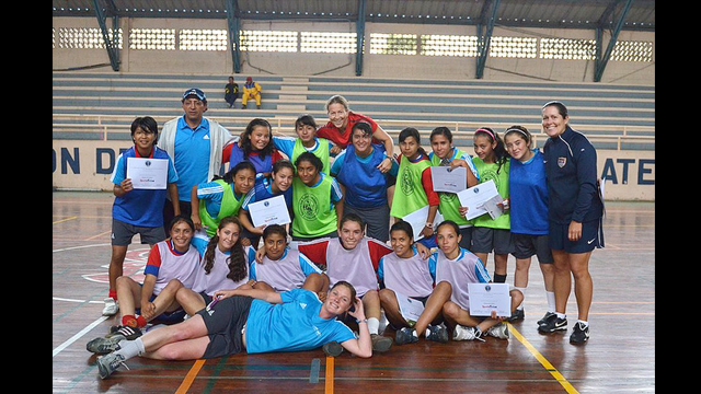 The soccer players pose for a photo post-clinic in Xela, Guatemala.