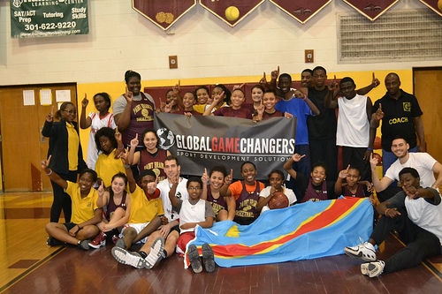 The Congolese pose with their new American friends after a session with Michael Vaughan-Cherubin and Josh Simon of Global Game Changers.