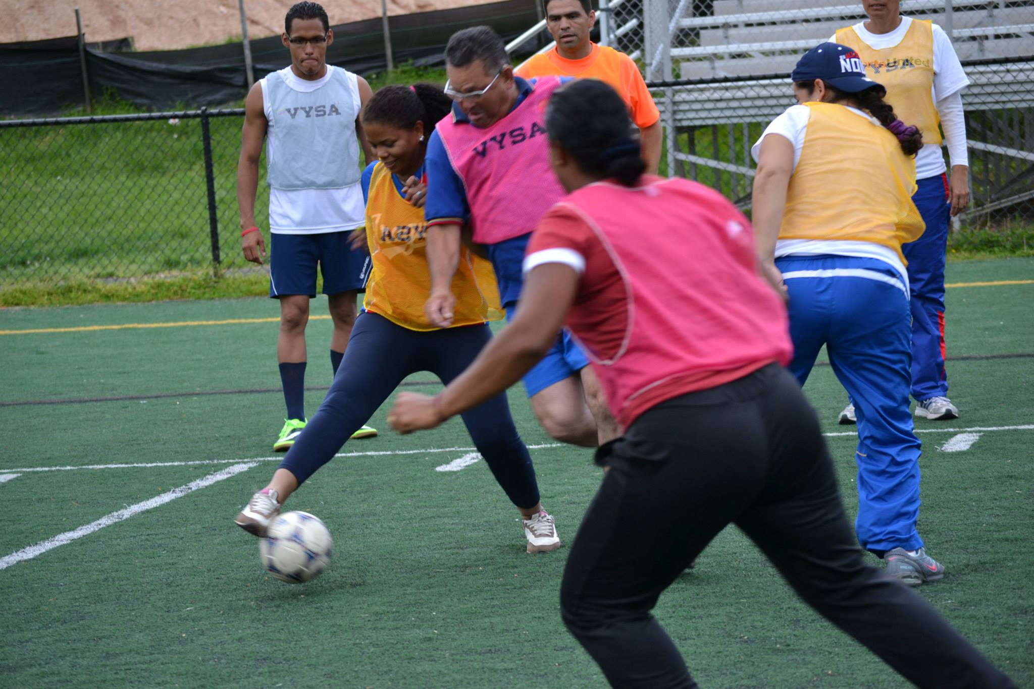 The sports visitors getting competitive during a scrimmage