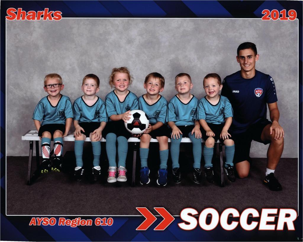 Jakob Backes and boys soccer team Sharks