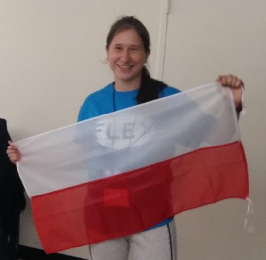 julia holding flag