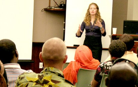 "American Fulbrighter Adrienne Strong, during her Fulbright Reflection Series Presentation ""Through the Voice of Women: Birth Culture and Maternal Health Care in Singida region,"" July 21, 2011, U.S. Embassy Dar es Salaam, Tanzania."