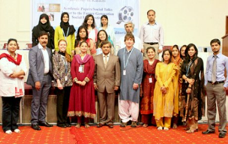 """Citizen diplomats"" Heather Layton and Brian Bailey at the University of Karachi for the ""Social Intervention Conference 2012: A Better Tomorrow for the Coming Generation"". The conference was organized by two IVLP alumni."