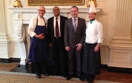 Chef Bill Yosses (Executive Pastry Chef, White House), Egyptian IVLP participants Ashraf Gamal and Hamdy Metwally, Chef Susan E. Morrison (Assistant Pastry Chef, White House) in the White House Dining Room