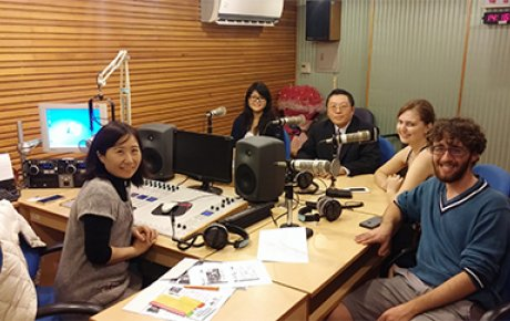 Brendan (right) giving an interview in Chinese on National Education Radio