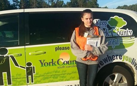 Milica volunteering her time in her local community of York County, South Carolina.
