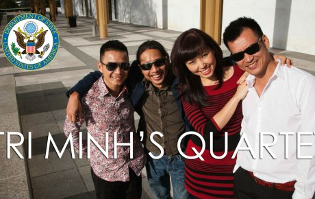 Tri Minh's Quartet poses in front of the Kennedy Center for the Performing Arts in Washington, D.C.