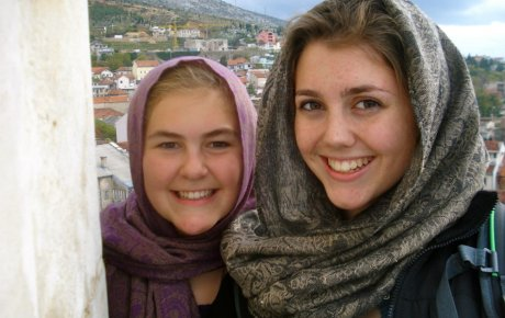 Katie W. (left) atop a mosque in Mostar