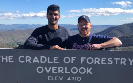Ouail with host dad hiking at cradle of forest overlook
