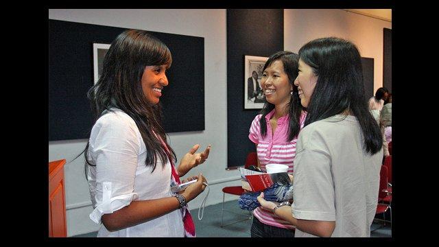 Filmmaker Anayansi Prado meets with students in Burma.