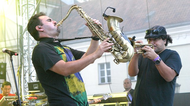 Ozomatli musicians perform in Warsaw, Poland.