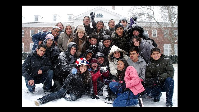 Youth Ambassadors play in the snow in DC.