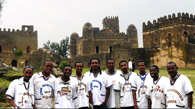 Members of the Ethiopian Tourist Association who worked with an English Language Fellow to create a national promotional brochure, visit the Fasilides Castle in the historic city of Gondar.
