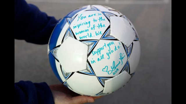 A gift to Lorrie Fair from the Afghan Women's National Soccer Team.