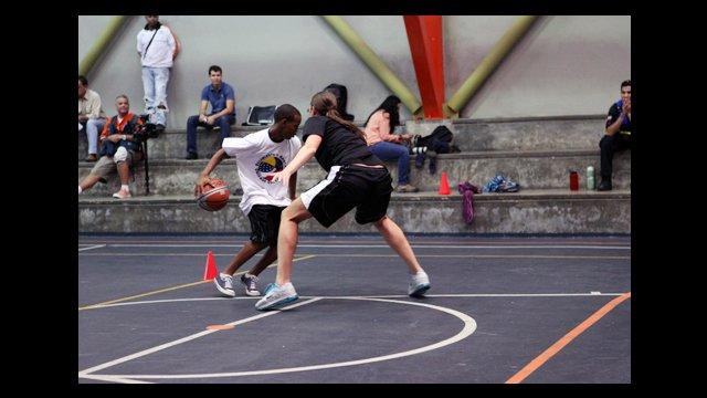 Kayte Christensen demonstrates basketball defense.