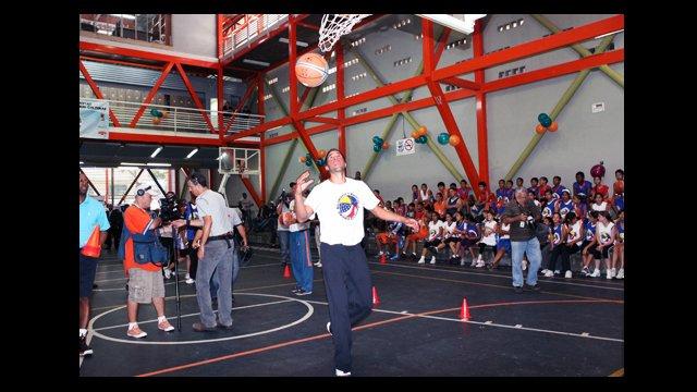 Greivis Vasquez shoots hoops between drills.