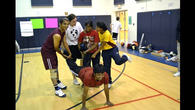 The Indian basketball coaches worked together during a Global Game Changers activity.