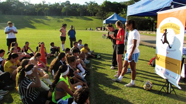"""At a """"Soccer Stars"""" presentation, Brandi Chastain and Brazilian Women's National Team member Rosana dos Santos Augusto speak about the health and academic benefits of sports."""