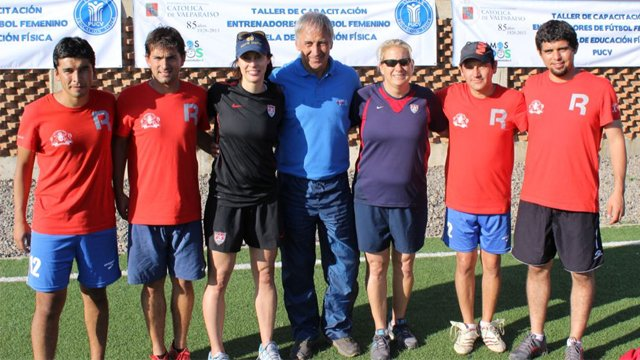 Kate and Linda with soccer players on the men's team at the Universidad Catolica de Valparaiso.