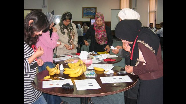 "Educators learn about teaching techniques that employ real-life (""realia"") materials in a workshop facilitated by an English Language Specialist in Libya."