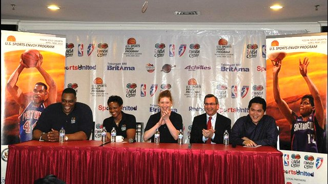 Ambassador Scot Marciel and other representatives of the U.S. Embassy in Jakarta lead a panel discussion on sports diplomacy.