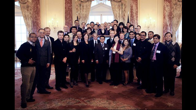 Climate Change Fellows pose with Assistant Secretary, Ann Stock.