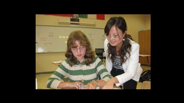 Pan Jiling teaches Chinese language at Hopkinton High School in Hopkinton, Massachusetts