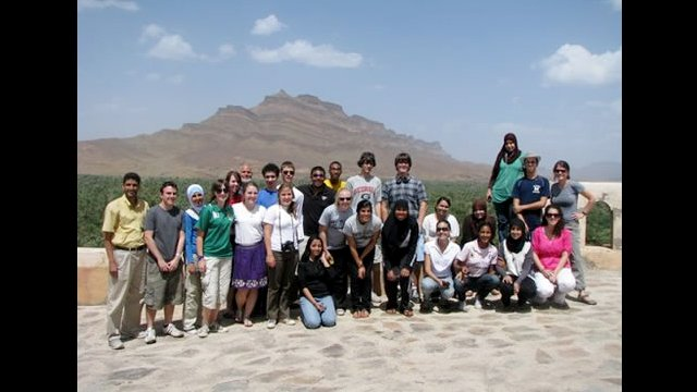 NSLI-Y scholars stop for a photo as they cross the High Atlas Mountains on their way to Zagora.