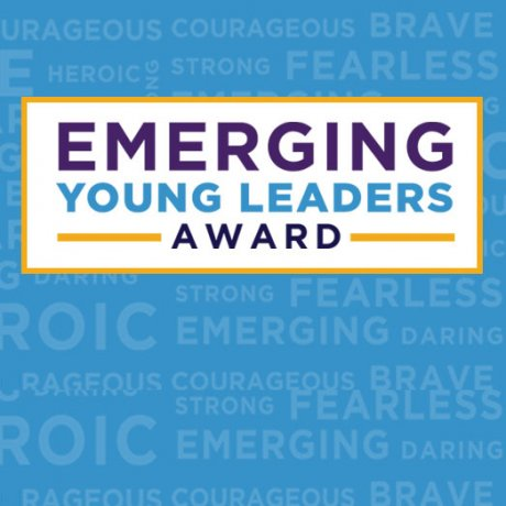 Blue background with text that reads: Emerging Young Leaders Award