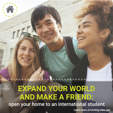 Three young people smiling with text reads: Expand Your World and Make a Friend