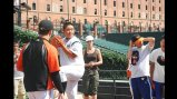 The Japanese delegation works on their pitching form with the Baltimore Orioles.