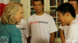 Hillary Clinton welcomes Japanese baseball players participating in the sports exchange.