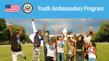 Group of teens happy jumping up around wiht the words Youth Ambassador Program at the top