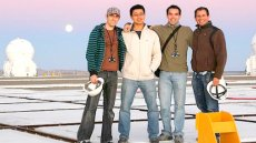 Eduardo Bendek (right) and the Optical Outreach Abroad team gathers at the Paranal Observatory platform during sunset.