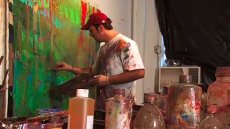Video still of Brian Rutenberg painting from the video, Brian Rutenberg - Fulbright Student to Ireland, 1997