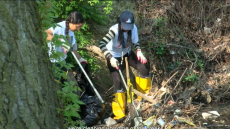 IVLP volunteers pull trash out of creeks in Ward 7 of Washington, D.C.