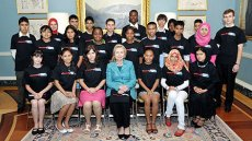 Photo of Secretary Clinton and Access students